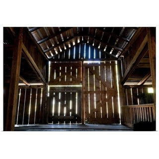 """""""Interior of a wooden barn"""" Poster Print"""
