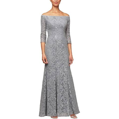 ALEX EVENINGS Gray 3/4 Sleeve Full-Length Dress 12
