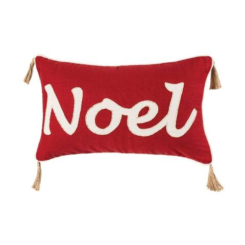 Noel in White Text and Tassles on The Corners Holiday Lumbar 20x12-inch Pillow Cover Only Ribbon