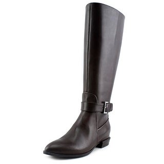 Nine West Diablo Wide Calf Women Round Toe Leather Brown Mid Calf Boot