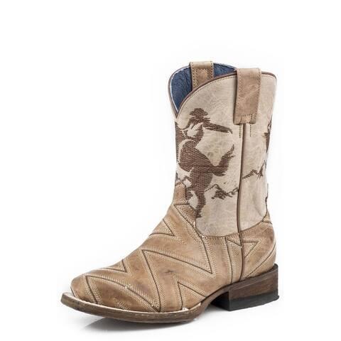 Roper Western Boots Boys Cowboy Leather Waxy Tan
