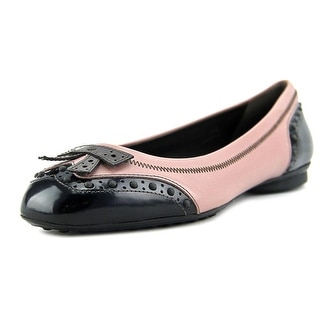 Tod's Dew Ballerina Bucature Square Toe Leather Flats