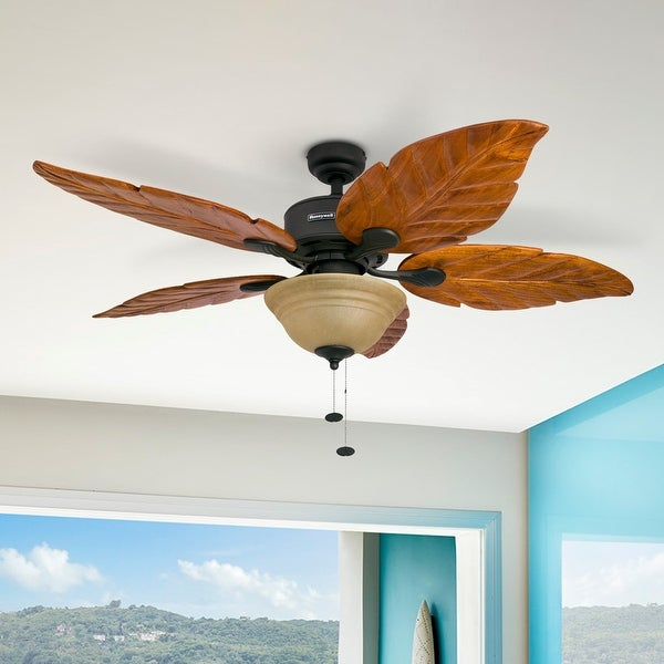 Honeywell Sabal Palm Tropical Ceiling Fan w/ Sunset Bowl Light, Five Hand Carved Wooden Leaf Blades, Bronze - 52-inch. Opens flyout.