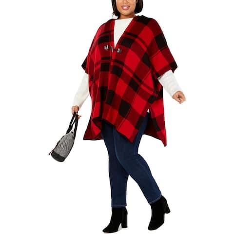 Tommy Hilfiger Womens Plus Cardigan Sweater Plaid Poncho Sleeves