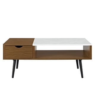 "Delacora WE-BDF42JMMB  42"" Long Faux Marble Top Laminate, Wood and Metal Coffee Table"