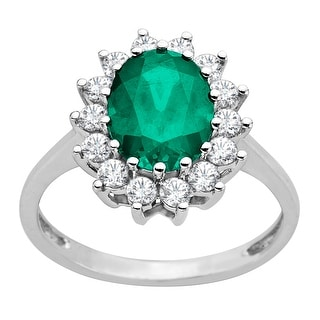 2 1/6 ct Emerald and White Sapphire Ring in 10K White Gold - Green