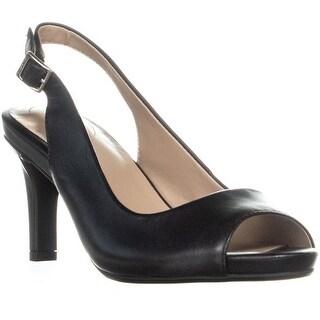 GB35 Layceel Peep Toe Slingback Heels, Black