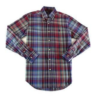 Ralph Lauren NEW Purple Green Mens Size Small S Button Down Plaid Shirt