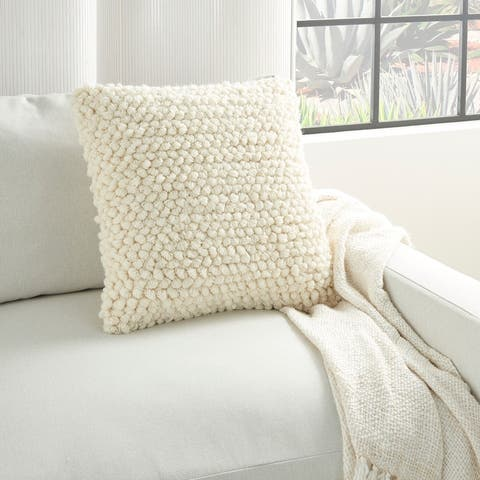 The Curated Nomad Cantera Loops Ivory Throw Pillow (20-inch x 20-inch)