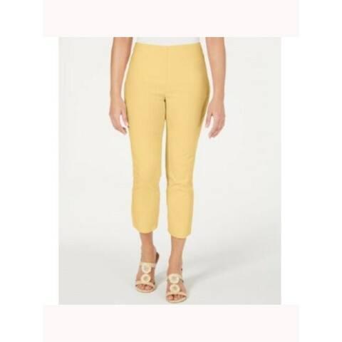 CHARTER CLUB Womens Yellow Solid Straight leg Pants Size 10