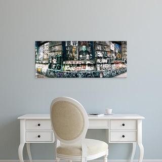 Easy Art Prints Panoramic Image 'Graffiti, Germania Bank Building, Bowery Street, Soho, Manhattan, New York' Canvas Art