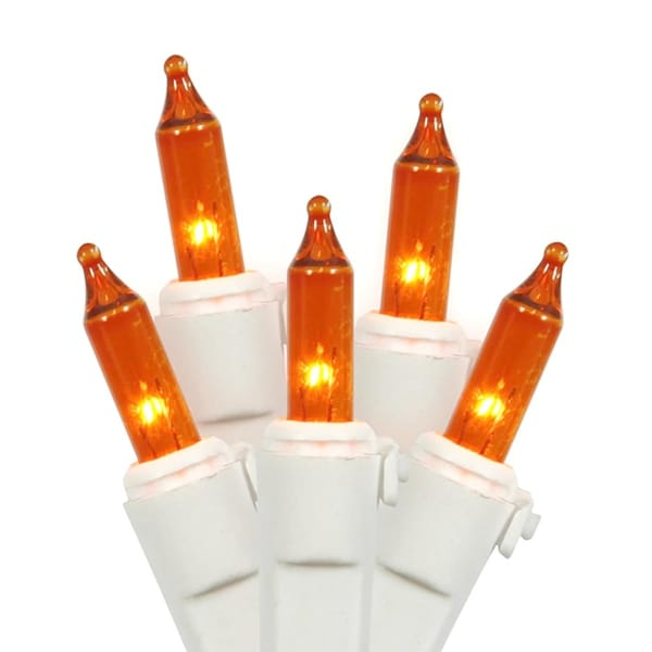 Set of 100 Orange Mini Christmas Lights - White Wire