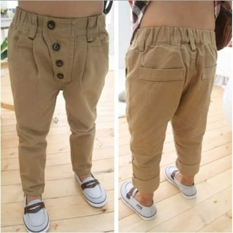 Children Boys Casual Pants For All Seasons Khaki Color