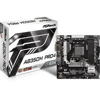 ASRock Motherboard AB350M Pro4 AMD AM4 B350 DDR4 PCI Express SATA micro-ATX Retail