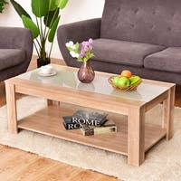Costway Coffee Table Rectangle Tempered Glass Top w/ Storage Shelf Living Room Furniture