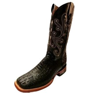 Ferrini Western Boots Mens Cowboy Caiman Gator Print Black 40393-04