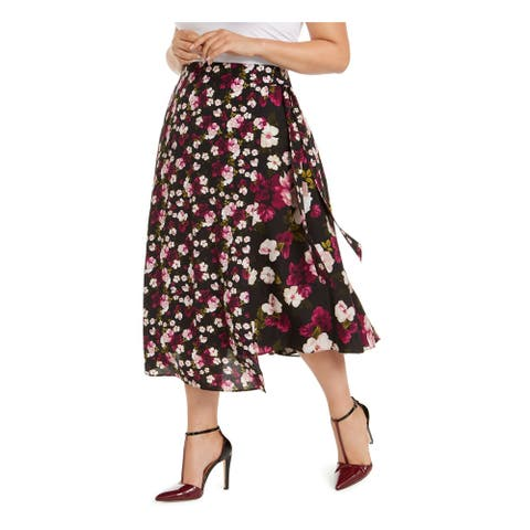 CALVIN KLEIN Womens Purple Floral Tea-Length Wrap Skirt Size 18W