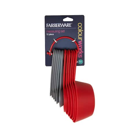 Farberware Measuring Cups and Spoons Set, 12 Piece - Red/Gray