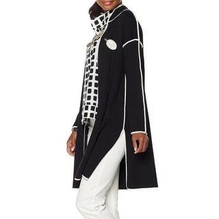 Marla Wynne NEW Black Womens Size XS Contrast Topper Cardigan Sweater