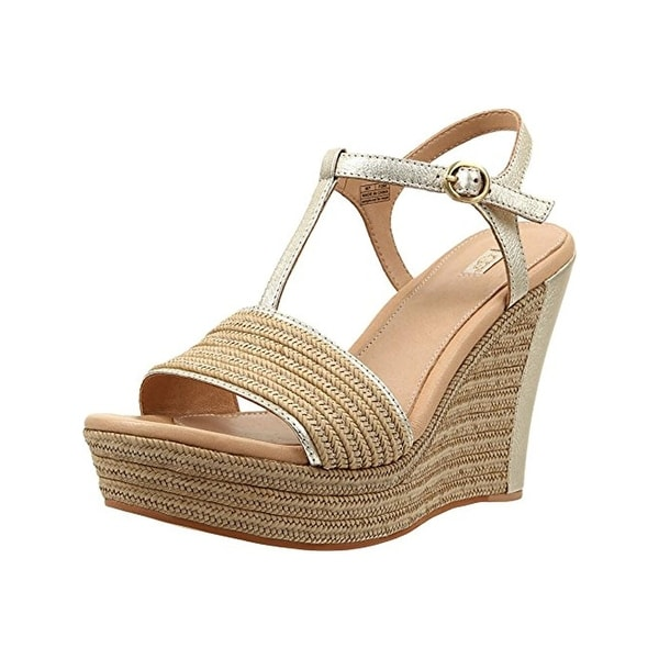 Ugg Australia Womens Fitchie Wedge Sandals Open Toe T-Strap - 9.5 medium (b,m)