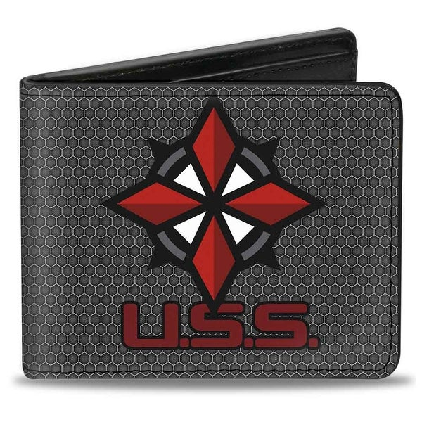 Resident Evil U.S.S. Logo Black Gray Red White Bi Fold Wallet - One Size Fits most