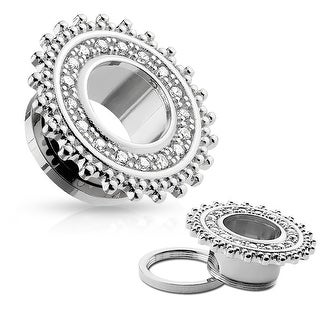 CZ Pave Tribal Shield Top Surgical Steel Screw Fit Flesh Tunnel (Sold Ind.)