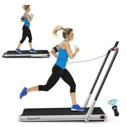 """2-in-1 Folding Treadmill with RC Bluetooth Speaker LED Display - 49"""" x 27"""" x 42"""" (L x W x H)"""