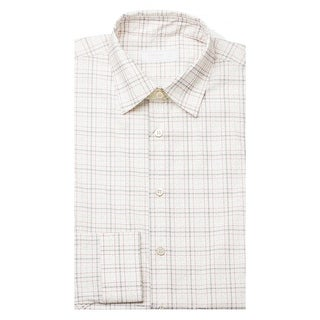 Prada Men's Spread Collar Plaid Cotton Stretch Dress Shirt White
