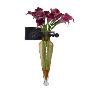 Danya B MC016 Single Vase Amphora Iron and Glass Wall Sconce
