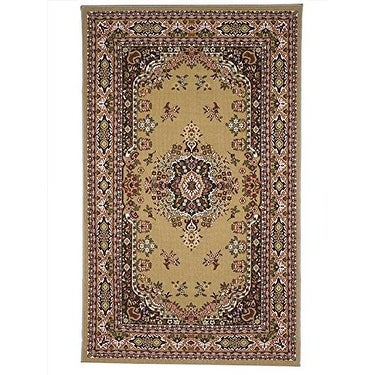 Area Rugs Traditional Oriental Floral Area Rug Camel,Tan,carpet,Living Room,Foyer - 5 x 8