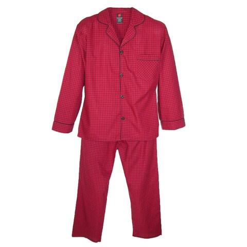 Hanes Men's Broadcloth Long Sleeve Pajama Set