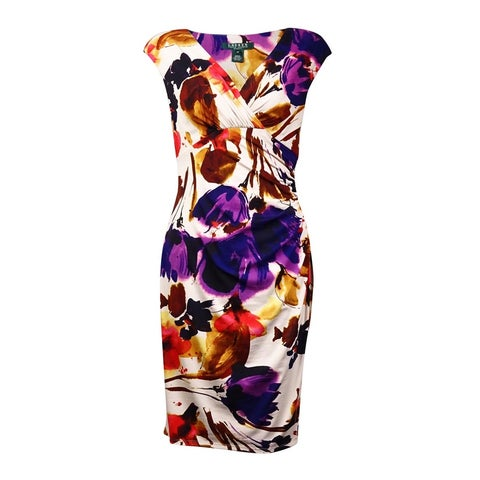 Lauren Ralph Lauren Women's Floral Faux Wrap Dress - cream/pink/multi
