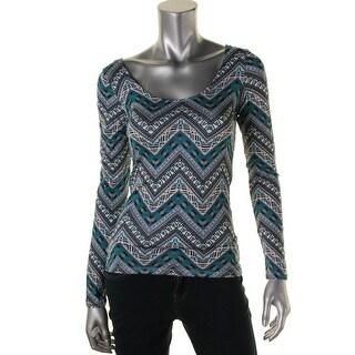Ultraflirt Womens Juniors Solid Long Sleeves Casual Top