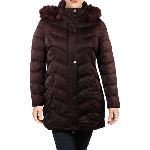 Kenneth Cole New York Women's Faux Fur Trim Quilted Mid-Length Puffer Coat