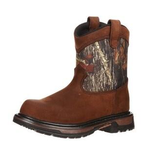 """Rocky Outdoor Boots Boys 8"""" Wellington WP Brown Mossy Oak"""