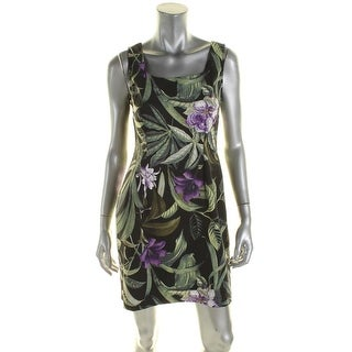 Connected Apparel Womens Petites Casual Dress Jungle Floral Print - 4P