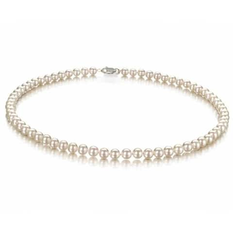 Classic Bridal White Freshwater Cultured Pearl Strand Necklace 6mm 16inch