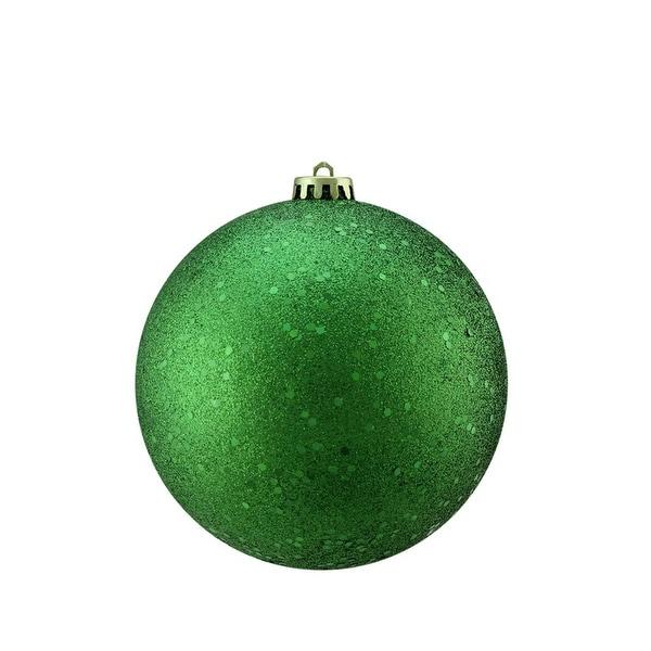 "Xmas Green Holographic Glitter Shatterproof Christmas Ball Ornament 4"" (100mm)"