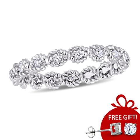 Miadora Signature Collection 10k White Gold 1/6ct TDW Diamond Infinity Eternity Band