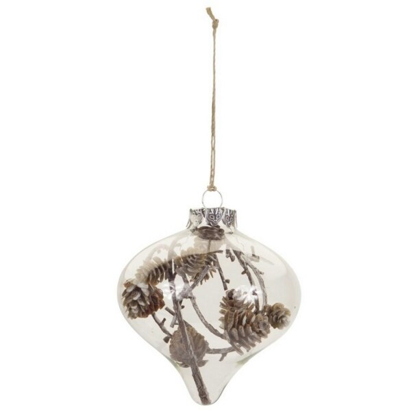 "4""Country Cabin Style Clear Christmas Onion Ornament with Pine Cones and Twigs"