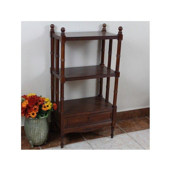 International Caravan Carved Wood Windsor 3 Tier Bookshelf Stain