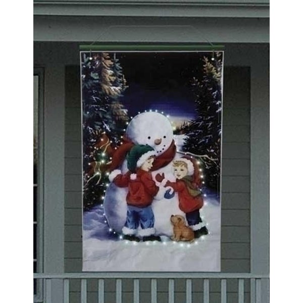 4' Lighted Snowman with Children Christmas Banner - BLue