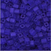 Miyuki 4mm Glass Cube Beads Transparent Matte Cobalt Blue 151F 10 Grams