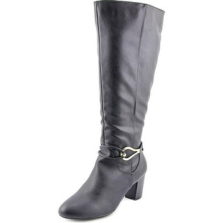 Karen Scott Gaffa Wide Calf Women Round Toe Synthetic Black Knee High Boot