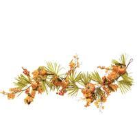 5' Autumn Harvest Decorative Artificial Pumpkins, Berries, Leaves and Grass Garland - Unlit - Green