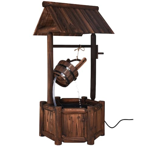 Garden Rustic Wishing Well Wooden Water Fountain with Pump - Brown