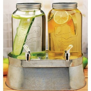 Palais Glassware Clear Mason Jar Beverage Dispenser - Traditional Tin Screw Off Lid Twin 1 Gallon with stand
