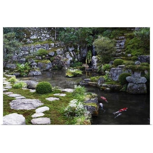 """""""Zen garden with carps, Jikko-in"""" Poster Print"""