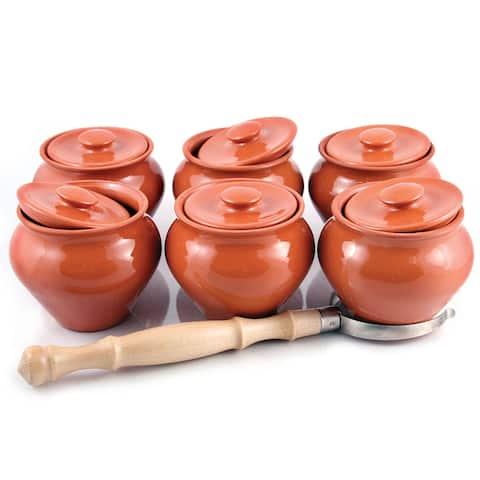STP-Goods 6-pc Stoneware Ramekins & Oven Fork Set