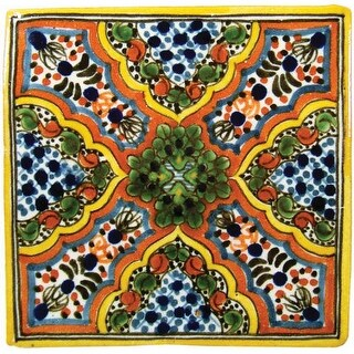 """Native Trails TVR0207 Talavera Tile 4"""" W x 4"""" H Hand Painted Apricot Tile - N/A"""